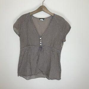 J.Crew pineapple v-neck button tie waist blouse